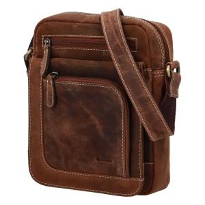 Pánská kožená taška přes rameno Diviley Oliver - koňak