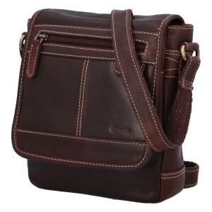 Pánská kožená taška přes rameno Diviley Gustav - hnědá