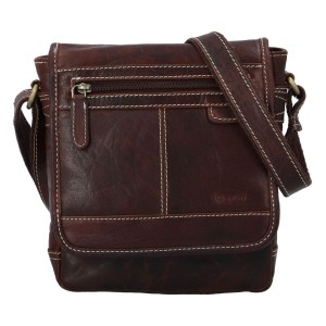Pánská kožená taška přes rameno Diviley Gustav - tmavě hnědá