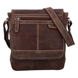 Pánská kožená taška přes rameno Diviley Bredly - hnědá