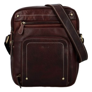 Pánská kožená taška přes rameno Diviley Vilém - hnědá