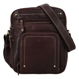 Pánská kožená taška přes rameno Diviley Vilém - tmavě hnědá