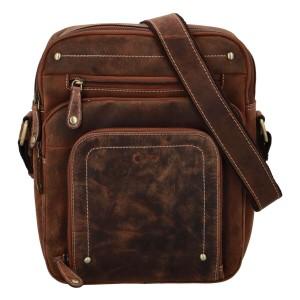 Pánská kožená taška přes rameno Diviley Sedyn - koňak
