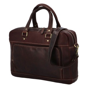 Pánská kožená taška na notebook Diviley Faust - hnědá