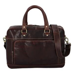 Pánská kožená taška na notebook Diviley Faust - tmavě hnědá