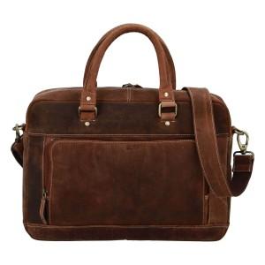 Pánská kožená taška na notebook Diviley Quido - koňak