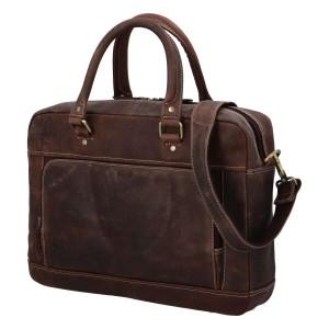 Pánská kožená taška na notebook Diviley Quido - hnědá