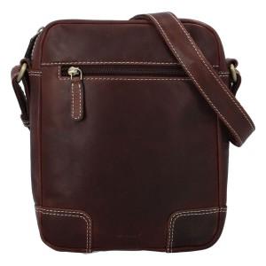 Pánská kožená taška přes rameno Diviley Samuel - hnědá