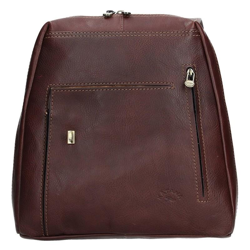 Elegantní dámský kožený batoh Katana Nora - tmavě hnědá
