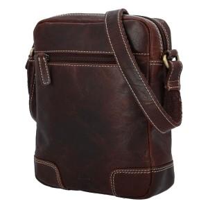 Pánská kožená taška přes rameno Diviley Samuel - tmavě hnědá