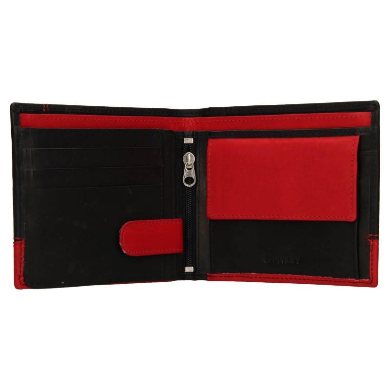 Pánská kožená peněženka Diviley Sileo - černo-červená