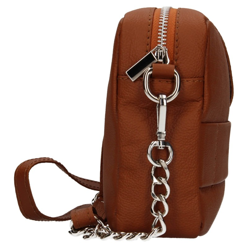 Trendy dámská kožená crossbody kabelka Facebag Ninas - koňak