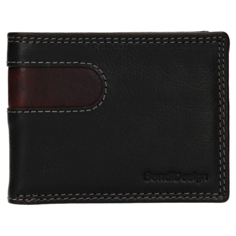 Pánská kožená peněženka SendiDesign Pent - černo-hnědá