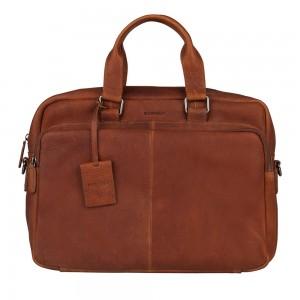 Pánská kožená taška na notebook Burkely Workbag - koňak