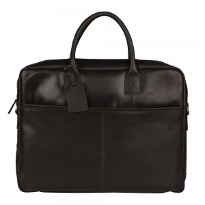 Pánská kožená taška na notebook Burkely Max - černá