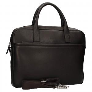 Kožená taška na notebook Katana Talin - tmavě hnědá