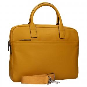 Kožená taška na notebook Katana Talin - žlutá