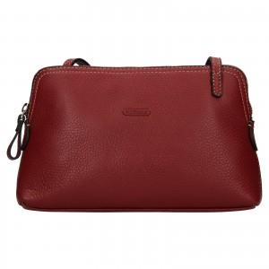 Kožená dámská crosbody kabelka Katana Mia - tmavě červená