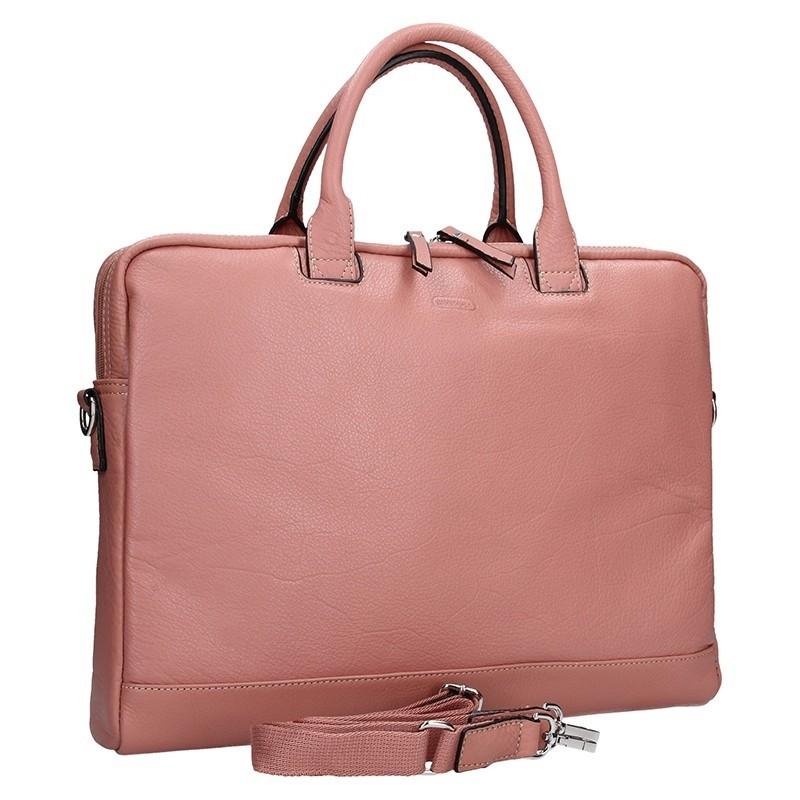 Dámská kožená taška na notebook Katana Emma - růžová c49943fee4
