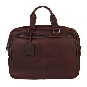 Pánská kožená taška na notebook Burkely Workbag - tmavě hnědá