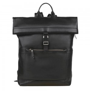 Trendy kožený batoh Burkely Rolltop - černá