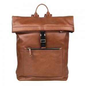 Trendy kožený batoh Burkely Rolltop - hnědá