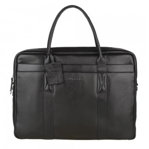 Pánská kožená taška na notebook Burkely Dominic - černá