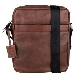 Pánská kožená taška přes rameno Burkely Kavins - hnědá