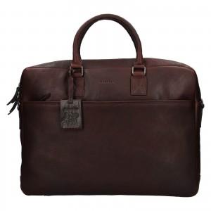 Pánská kožená taška na notebook Burkely Maxvel - tmavě hnědá
