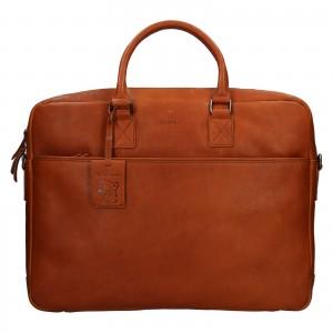 Pánská kožená taška na notebook Burkely Maxvel - koňak