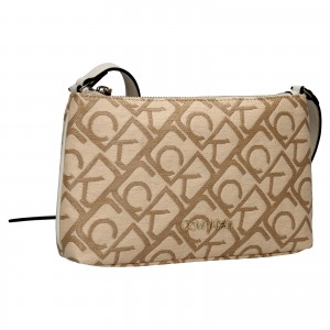Dámská crossbody kabelka Calvin Klein Dians - béžovo-hnědá
