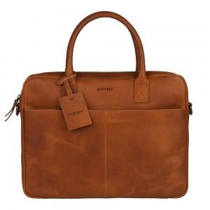 Kožená taška na notebook Burkely Jacko - koňak