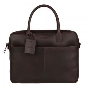 Kožená taška na notebook Burkely Jacko - tmavě hnědá
