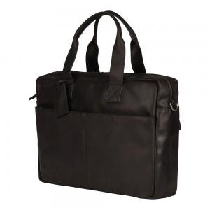 Kožená taška na notebook Burkely River - černá