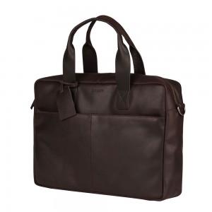 Kožená taška na notebook Burkely River - tmavě hnědá