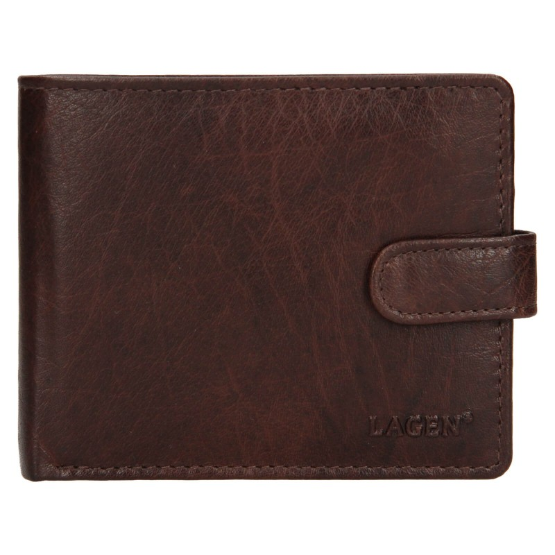 Pánská kožená peněženka Lagen Ivan - tmavě hnědá