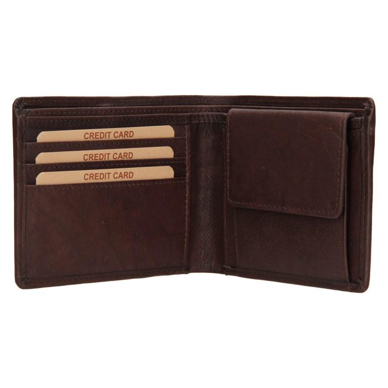 Pánská kožená peněženka Lagen Kall - tmavě hnědá