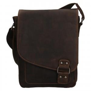 Pánská kožená taška přes rameno Greenwood Jamie - tmavě hnědá