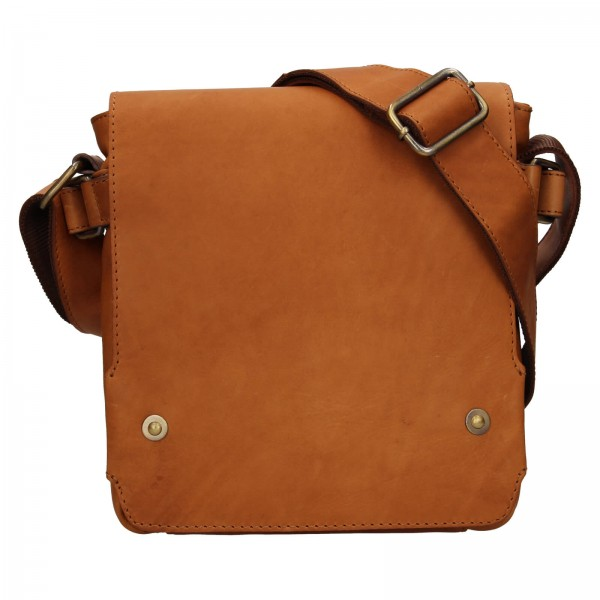 Pánská kožená taška přes rameno Lagen Maros - koňak