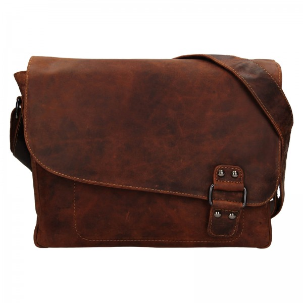 Pánská kožená taška přes rameno Greenwood Konte - hnědá
