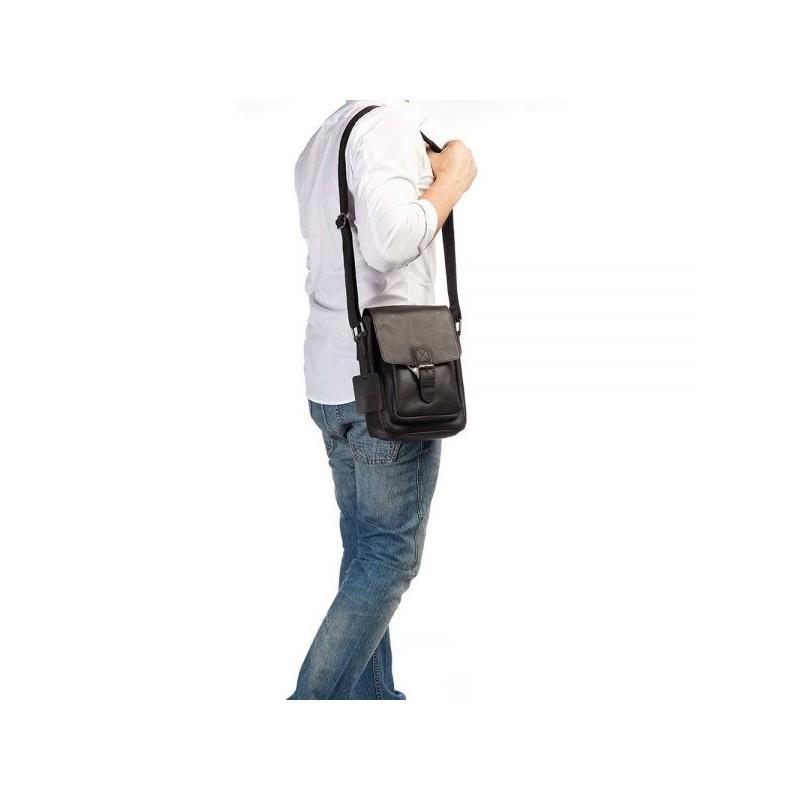 Pánská kožená taška přes rameno Burkely Luke - černá