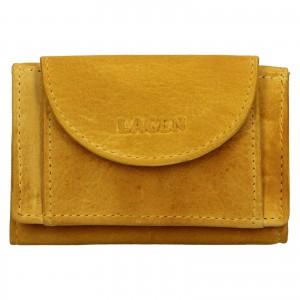 Dámská kožená slim peněženka Lagen Mellba - žlutá