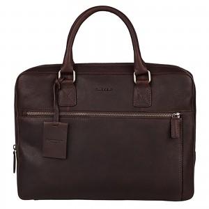 Pánská kožená taška na notebook Burkely Laptop - tmavě hnědá