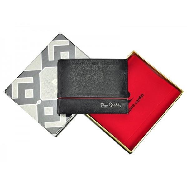 Pánská kožená peněženka Pierre Cardin Jean - černo-červená