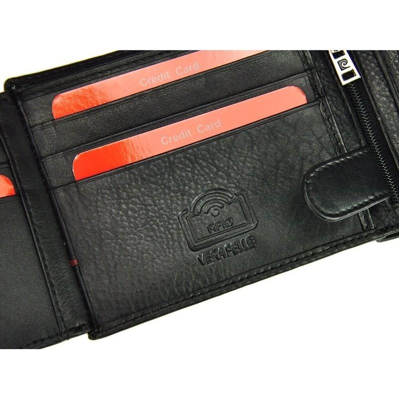 Pánská kožená peněženka Pierre Cardin Michel - černo-modrá