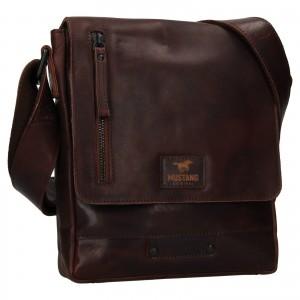 Pánská kožená taška přes rameno Mustang Atrhur - tmavě hnědá