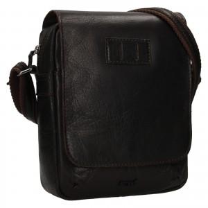 Pánská kožená taška přes rameno Justified Libor - tmavě hnědá