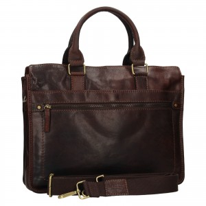 Pánská kožená taška přes rameno Lagen Benedikt - tmavě hnědá