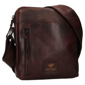 Pánská kožená taška přes rameno Mustang Dumas - tmavě hnědá