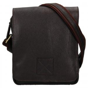 Pánská kožená taška přes rameno Ashwood Jarry - tmavě hnědá